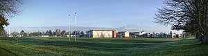 Hamilton Boys' High School - One of the school's fields, with the gym and main buildings visible behind.