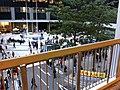 HK Tim Mei Avenue footbridge fence view Central Government Offices roundabourt square evening 01-Jan-2013.JPG