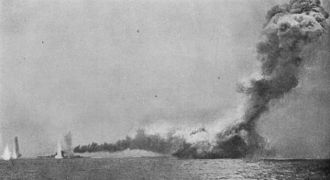 Lion-class battlecruiser - Queen Mary blowing up at the Battle of Jutland; she is hidden by the explosion and smoke. To the left is Lion, surrounded by waterspouts from enemy shots falling short.