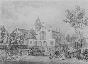 Sutton Place, Hackney - circa 1835, print of the Grammar School, with the new church in the background