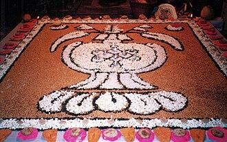 Kachhala (month) - Halimali display, grain art showing auspicious jar on Kārtik Purnimā.