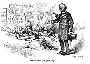 Benjamin Tillman - Harper's Weekly cartoon decrying the Hamburg massacre
