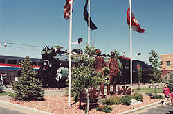 "The Havre railroad station -  the sculpture is ""U.S. − Canada Friendship"""