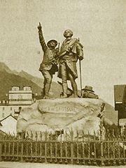 Horace-Benedict de Saussure monument at Chamonix. Beside him is Jacques Balmat.