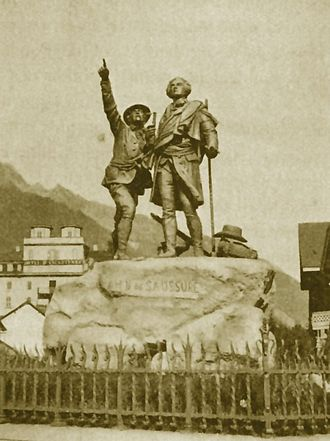 History of the Alps - Chamonix, The Monument of Horace-Bénédict de Saussure and Jacques Balmat, in honor of their climb of Mont Blanc