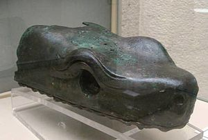 Bronze head of the serpent from the column at ...