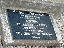 Photo of Elizabeth Kenny's ground-level gravestone