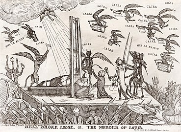 demons in the sky sing a ira as the blade of the guillotine severs the head of louis xvi in this british print published just four days after the kings