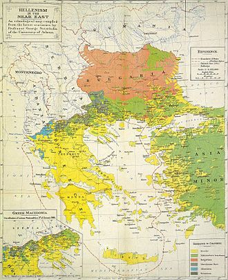 Ottoman Greeks - Hellenism (yellow) in the Aegean during and after World War I by George Soteriadis of the University of Athens.