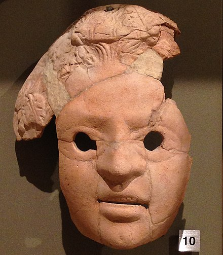 Hellenistic theatre mask from Tyre, National Museum of Beirut HellenisticTheatricalMasc Tyre4-2BCE NationalMuseumOfBeirutLebanon RomanDeckert04102019.jpg