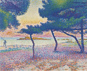 Société des Artistes Indépendants - Henri-Edmond Cross, 1896, La Plage de Saint-Clair, oil on canvas, 54.5 by 65.4 cm