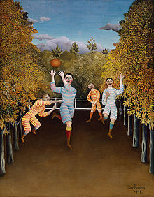 An oil painting of two groups of a pair of moustached men wearing stripped jerseys and shorts, contesting a rugby ball within an avenue of trees.
