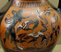 Ânfora ática mostrando Hércules e as aves do lago Estínfalo, c. 540 a.C. Museu Britânico.
