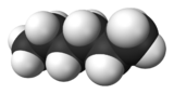 Spacefill model of hexane