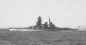 Japanese battleship Hiei - Hiei undergoing full power trials off Tukugewan following her second reconstruction, December 1939