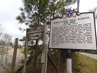 Highlander Research and Education Center - Image: Higlander Folk School Center Historical Marker Front