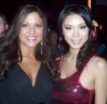 "Hilary Cruz, Miss Teen USA 2007 and Riyo Mori, Miss Universe 2007 attend the ""Fashion Rocks the Universe"" event prior to the Miss USA 2008 pageant"