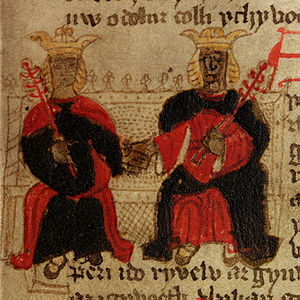 Brut y Brenhinedd - An illustration from Peniarth MS 23(f.18), Morgan and Cunedda