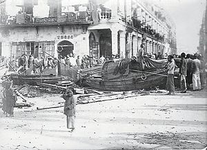 1906 Hong Kong typhoon - Debris in the streets of Hong Kong following the typhoon