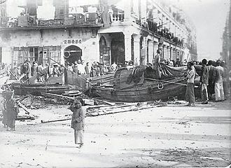 1906 Hong Kong typhoon - Debris in the streets of Hong Kong following the typhoon