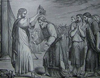 Shemini (parsha) - The Consecration of Aaron and His Sons (illustration from the 1890 Holman Bible)