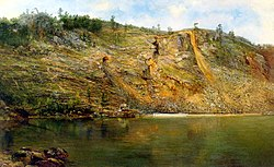 The Iron Mine, Port Henry, New York, c. 1862, painted by Homer Dodge Martin