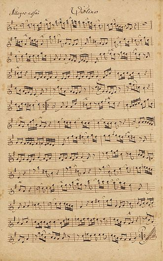 Johann Ernst Bach (musician at Saxe-Weimar) - Page from Sonata per il clavicembalo col violino, 18th century, by Bach