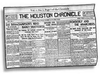 Houston Chronicle - Front page of the first edition of the Houston Chronicle, 14 October 1901.