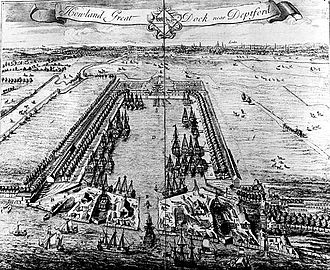 London Docklands - Howland Great Wet Dock in Rotherhithe, 1717