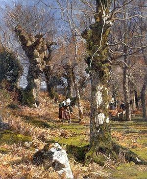 Hugh Bolton Jones - Gathering Leaves (1878)