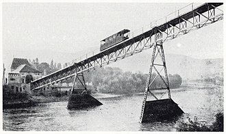 Hungerburgbahn - Hungerburgbahn crossing the Inn river, about 1907