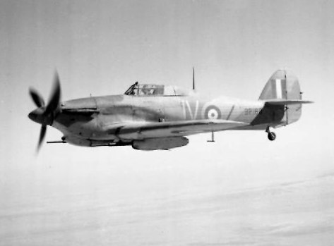 A No. 6 Squadron Hawker Hurricane IID over the Western Desert during 1942.
