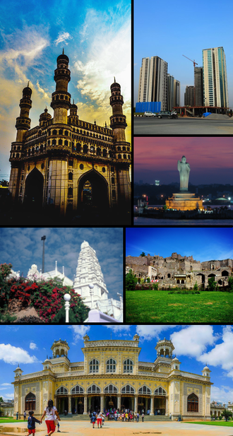 Hyderabad - Clockwise from top left: Charminar, modern skyline, Hussain Sagar, Golconda Fort, Chowmahalla Palace and Birla Mandir