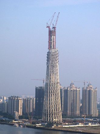 Canton Tower - The tower under construction in November 2007.