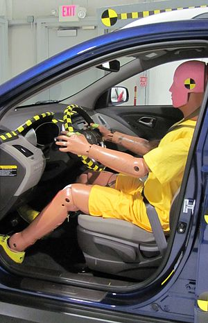 Crash test dummy in a 2010 Hyundai Tucson GLS ...