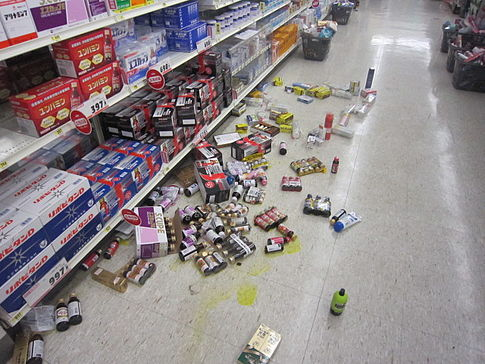 Items were knocked off shelves at a  store in Narashino, Chiba after the earthquake. Image: mikuaxe.