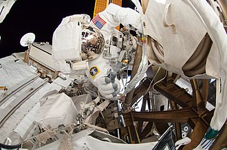 Integrated Truss Structure - NASA Astronaut Reid Wiseman inspects the steel framework of the truss structure