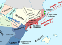 a colour map of the western Mediterranean region showing the areas controlled by Rome and Carthage.