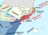 Batı Akdeniz bölgesinin Roma ve Kartaca tarafından kontrol edilen bölgeleri gösteren renkli bir haritası.