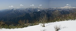 Ibuki Mountains - A panoramic view of the peaks in the Ibuki Range.