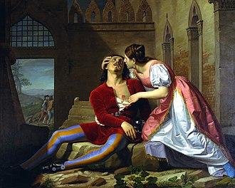 """Imelda de' Lambertazzi - """"Imelda e Bonifacio"""": death of Bonifacio in Imelda's arms, by Giovanni Pagliarini (1809-1878)"""