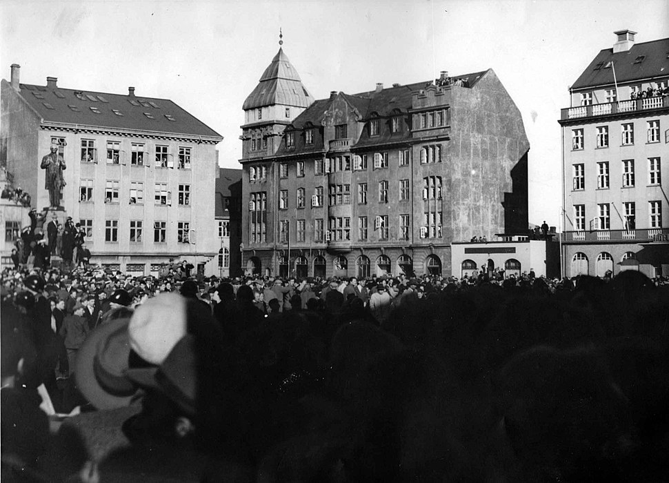 In the throng in front of the House of the Althing, during anti-NATO protests.