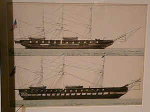 "USS Princeton (1843) - US Steam Ship 'Princeton' and ""US Ship 'Raritan'"