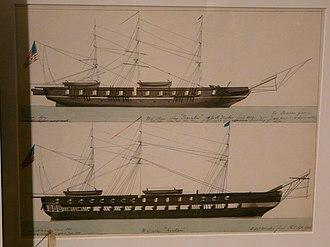 """USS Princeton (1843) - US Steam Ship 'Princeton' and """"US Ship 'Raritan'"""