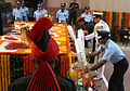 Indian Armed Forces service chiefs laying a wreath at Amar Jawan Jyoti on Air Force Day 2014.JPG