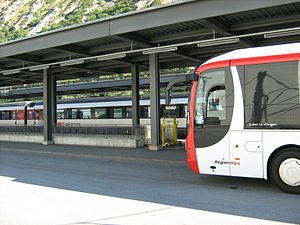 Clock-face scheduling - A regional bus service meets an interregional train service at Leuk (Switzerland) train station