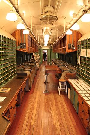 Railway post office - Interior of Great Northern Railway Post Office Car 42 at the California State Railroad Museum