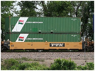 Canadian Pacific Limited - TMM containers on a double stack train car, 2008