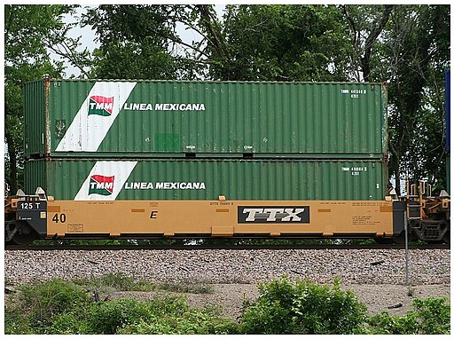 Intermodal shipping containers on a railway flat car
