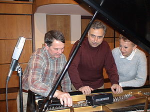 Andrey Kasparov - Left to right: Henry Faivre (piano technician), Andrey Kasparov and Oksana Lutsyshyn